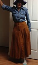 Long Brown Suede Skirt Ann Taylor Sz 4