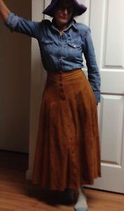 Long Brown Suede Skirt Ann Taylor Sz 4