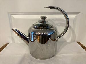 CALPHALON 2-Qt Tea Kettle Pot 4302 w/Glass Lid Stainless Steel ~ Exc Cond