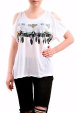 Wildfox Women's Young & Wild Louise Feather Top Tee White Size L RRP £60 BCF76