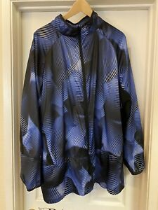 LuLaRoe Rise Determined Athletic Jacket Abstract Print Black Blue Sz 3X