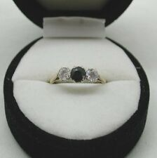 A Very Nice 9ct Gold Blue Topaz And White Stone Ring