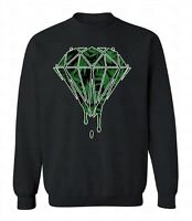 Weed Diamonds Dripping Crewneck Marijuana Leaf Sweatshirt Melting Kush Sweater