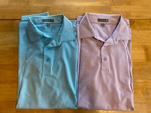 Peter Millar Large Summer Comfort Lot Of 2 Short Sleeve Polo Shirts Striped A51