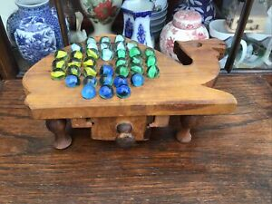 Vintage Handmade Wooden Solitaire Game In Form Of A Camel. & Glass Marbles