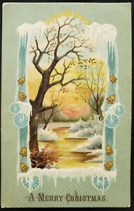 Antique Christmas Card die cut Embossed design Young snow and tree 1908 New York