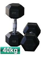 PAIR OF 40KG RUBBER COATED HEX DUMBBELL CHROME HANDLE WEIGHTS PLATE BODYBUILDING