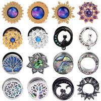 Pair Stainless Steel Opal GEMS Kitten Ear Gauges Tunnels Plugs Piercing Jewelry