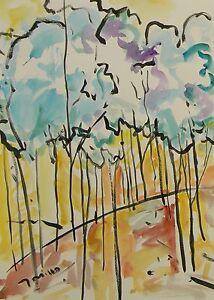 JOSE TRUJILLO - LARGE Impressionism Watercolor Painting ORIGINAL Treeline Woods