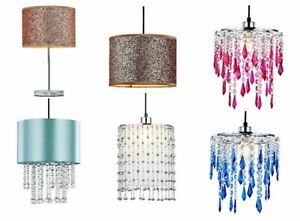 Modern Chandelier Ceiling Light Shade Crystal Droplet Pendant Lampshade