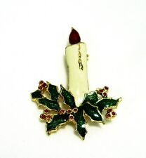 Christmas Candle Brooch No Marks 1 7/8 x 1 3/8 Gold Trim Holly Unknown Age (824)