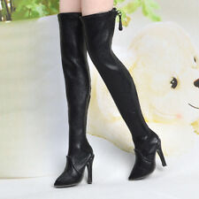 """1/6 Scale Black Hollow Over knee Long Boots High-heeled Shoe F 12"""" PH"""
