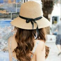 Straw Sun Hats Women Wide Brim Bow-knot Caps Sunscreen Beanie Hats UV Protection