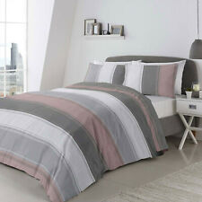 Duvet Set Betley Blush Pink Grey & White Stripe. Single Double or King Size