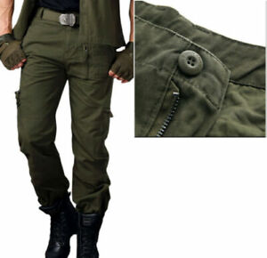Zipper Pockets Tactical Pants Men's Work Cargo Pants Outdoor Military Trousers