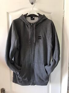 Mens Under Armour Hoodie Zipped Tracksuit Top Jacket Grey Jogger XL
