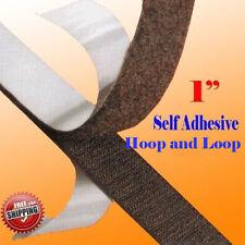 "1"" x 5 Yard 15' Black Adhesive Hook and Loop Interlock Tape Fastener Fabric"