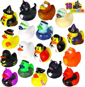JOYIN 18 Halloween Fancy Novelty Assorted Rubber Ducks for Fun Bath Squirt Toy