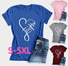 Womens Summer Cross Love Faith T-Shirts Plus Size Christian Shirts Tops Blouse