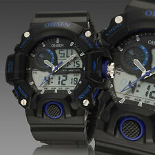 OHSEN Mens G Sport Water Proof Shock Alarm Military Army Digital Watch Blue