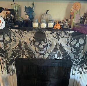 Halloween Decoration Victorian Black Lace Skull Skeleton Fireplace Mantle Scarf