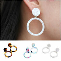 Women Acrylic Leopard Print Hollow Out Round Circle Drop Dangle Earrings Jewelry