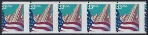 "3280 - 33c Misperf Strip 5""Flag And City"" Mint NH"