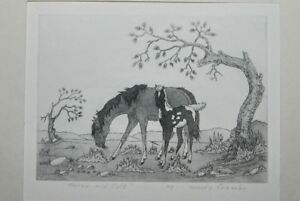 Vintage Original HORSE and COLT by Woody Crumbo Etching Pencil Titled & Signed -