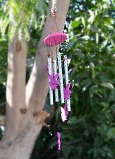Wood Hot Pink Rabbit Windchimes Tuned Handcrafted Wind Chime with Metal pipes