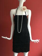 Cult Black Flapper 1920s Gatsby Charleston Tassle Fringe Dress UK 10 BNWT