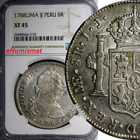 PERU  CARLOS III (1759-1788) Silver 1788 LIMA -IJ 8 Reales NGC XF45 KM# 78a