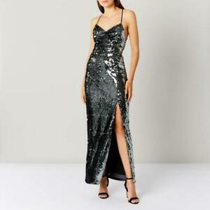 COAST - Silver Kadie Sequin Maxi Dress -Size 12 (Brand New With Tag)