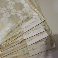 Threshold Snowflake Placemats Gold & White 14x19 Christmas, Set of 4