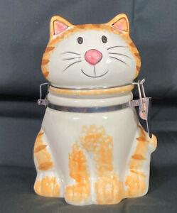 Tabby Cat Ceramic Canister / Treat Jar from Boston Warehouse Trading Corp