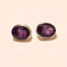 925 Sterling Silver Christmas Jewelry Natural Panorama Amethyst Earrings Studs