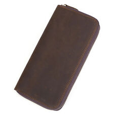 100% Cow Leather Unisex Wallet Coin ID Cards Money Holder Zipper-Around Purse