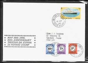 TRISTAN DA CUNHA 1996 1d POTATO STAMP WITH POSTAGE DUES. CREASED CONDITION