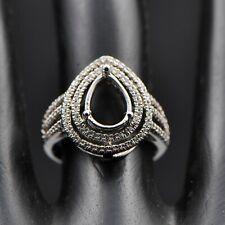 8x10mm Pear Cut Solid 14k 585 White Gold Diamond Anniversary Semi Mount Ring