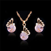 18k Gold Plated Cute Butterfly Pink Cubic Zirconia Necklace Earring Jewelry Set