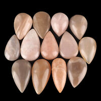 13 Pcs Natural Moonstone Peach Brown Top Quality Cabochon Gemstones 29mm-42mm