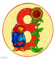 "3.5"" PADDINGTON BEAR NUMBER #8  CIRCLE 8TH  BIRTHDAY FABRIC APPLIQUE IRON ON"