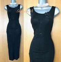 Karen Millen Black Jersey Embroidered Occasion Mid Length Pencil Dress 12 UK 40