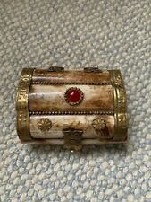 Indian Camel bone & brass trinket box/treasure chest with decorative red glass