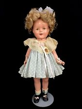 Vintage 1930s Shirley Temple Ideal Composition Doll Blue Polka Dot Dress Pin 17""