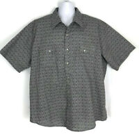 Wrangler Mens Shirt Size 3XL Gray Short Sleeve Pearl Snap Dress Casual Shirt