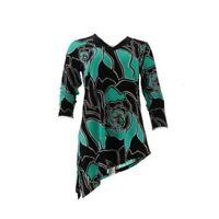 A273454 Susan Graver Asymmetric Hem Liquid Knit VNeck Top SPEARMINT/BLACK XS-734