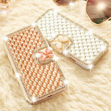 Glitter Sparkle Jewel Butterfly Flip Card Wallet Cover Case For iPhone Samsung