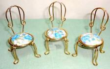 "Dollhouse Miniatures 3 Vintage Gold Wire Blue Roses Chairs 3"" h x 2"" w EACH"