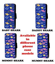 Shark pattern Doo Doo phone case baby mommy daddy design flip faux leather case