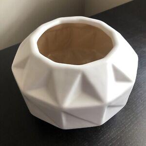 CB2 Abstract Geometric Contemporary Modern Matte White Glazed Medium Art Vase